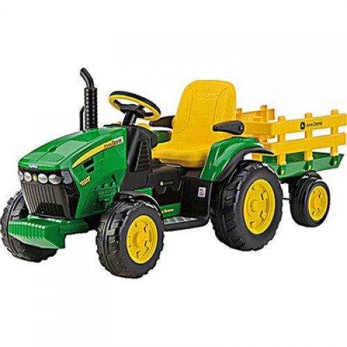 peg perego 12v john deere ground force with trailer. Black Bedroom Furniture Sets. Home Design Ideas